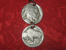 SOUTHWEST VINTAGE AGED BUFFALO NICKEL PENDANT TWO COIN CHARM NECKLACE