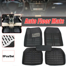 5Pcs Floor Mats Front & Rear Liner Black PU Leather All Weather for 5 Seats Car