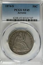 1874 S 50C PCGS  XF 45 ARROWS Seated Liberty Half Dollar