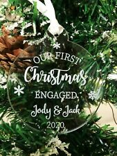 Personalised Engaged Mr & Mrs First Christmas Tree Bauble Decoration