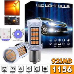 2pcs BA15S P21W 1156 Amber Car Tail Stop Brake Light Super Bright 92SMD LED Bulb