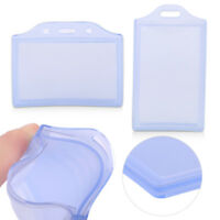Clear 2 Pockets Business ID Card Badge Holder Soft Plastic Office School Supply