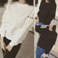 Lady Loose Long Sleeve Pure Color Tassels Hollow Out Hoodies Sweatshirts Tops TP