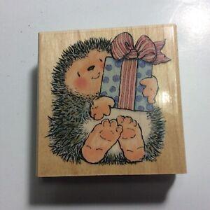 Vtg Margaret Sherry Penny Black Rubber Stamp Hedgehog A Gift For You 1999 1447H
