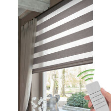 Motorized Zebra Blinds Sheer Roller Shade Waterproof Window Treatment Coffee