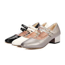 Womens Mary Janes Shoes Synthetic Leather Med Heels Strappy Pumps US Size S738