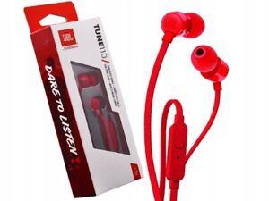 Auriculares botón - JBL T110, Intraaurales, Micrófono, Pure Bass JBL, Rojo
