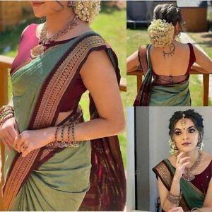 Indian Pakistani Designer Stylish Wedding Party Banarasi Cotton Silk Saree Sari