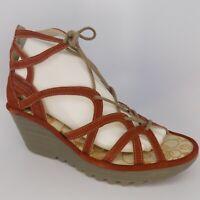 FLY LONDON Yuke Lace-Up Wedge Women Sandals Size 9-9.5 EU 40 AL5183
