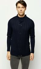 Medium M ribbed high neck double breasted button navy blue men cardigan jacket