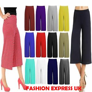 Women 3/4 Length Palazzo Short Trousers Ladies Wide Leg Culottes Pants Plus Size