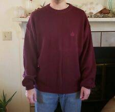 NWT IZOD Mens Sweater Size XL 100% Cotton Long sleeve Wine Red Knit