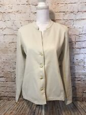 Eileen Fisher $298 Ivory Cotton Blend Long Jacket Blazer Career Size Small