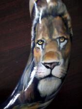 "14""-16"" Ram Horn Shofar.Hand painted .Lion Of Judah."