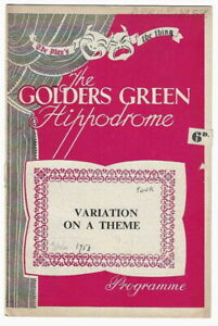 1958 Jeremy Brett touring theatre programme Variation on a Theme Golders Green