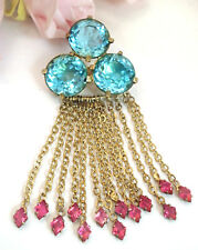 Vintage Costume Jewelry FRED A Block Blue Pink Dangle Brooch Pin
