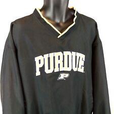 NCAA Purdue Men s XL Black Tan Embroidered L S Pullover Windbreaker Jacket  EUC 6e714eed23fd8