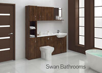 OLIVEWOOD BATHROOM FITTED FURNITURE 1800MM WITH WALL UNITS