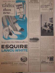 1953 Esquires Lanol White Polish Keeps White Shoes Kitten Soft Original Print Ad