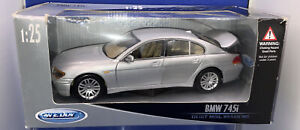Welly Diecast 1:25 BMW 745i Model In Silver. Mint Boxed