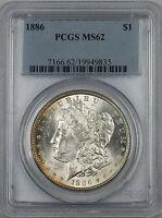 1886 Morgan Silver Dollar $1 Coin PCGS MS-62 Toned Rim RL (D)