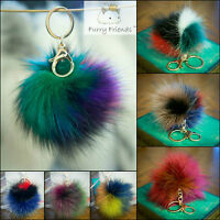 Artifical Raccoon Fur Fluffy Ball Car Keyring Pendant Handbag Charm Keychain Pom