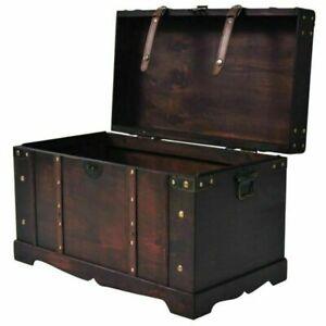 Large Wood Treasure Chest Vintage Coffee Table Storage Blanket Trunk Box Brown