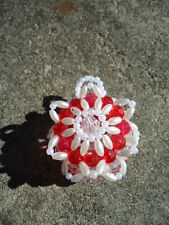 Christmas Homemade Red Faceted & Pearl Oat & Round Bead Small Circular Ornament
