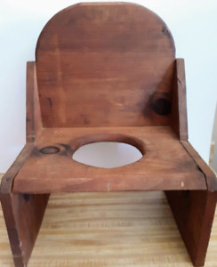 Vintage Handcrafted Wooden Child's Potty Chair, Rustic/Primitive, No Pot