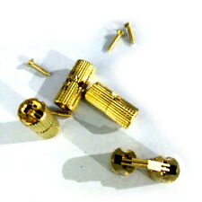 4X 8mm Brass Barrel Cabinet Hinge Cylindrical Hidden Invisible Hinges FT