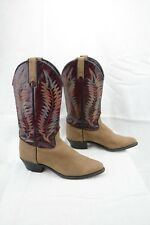 Wrangler Vintage Womens 6.5 Western Cowboy Boots Tan Burgundy Leather Suede A14