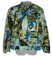 Chicos Womens Cropped Jacket Zip Up Floral Print Patchwork Pockets Blue Green XL