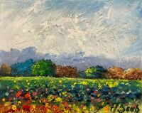 sunny meadows flowers hills California impressionist LANDSCAPE Oil PAINTING
