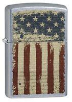 Zippo Lighter: Aged American Flag - Street Chrome 77091