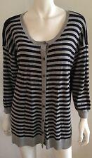 SPORTSCRAFT blue / grey stripe brushed cotton knit cardigan ~ sz XXL