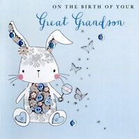 New Baby Great Grandson Buttoned Up Greeting Card Embellished Cards