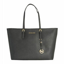 Michael Kors Travel Jet Set Leather Tote Handba for Women's, Scarlet black