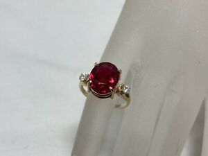 14K Yellow Gold Ruby Ring 5.88 ct Solitaire Size 9