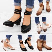 Women's Ladies Ankle Strap Zip Block Heels Summer Party Work Casual Dress Shoes
