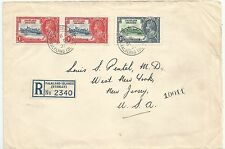 FALKLAND IS 1935 REG ENV TO NEW JERSEY USA   FRANKED BY 1935 1d(2) &4d CAT £400+