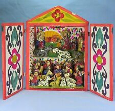 Vintage Folk Art Retablo of the Christmas Nativity Scene