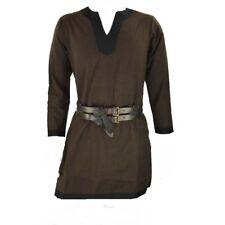 Viking Medieval Tunic Brown Peasant Thick Cotton Larp Renaissance Clothing+exp.