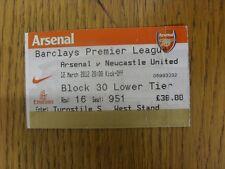 12/03/2012 billet: Arsenal et Newcastle United (plié). personnes souhaitant assister progs/bobfrankand