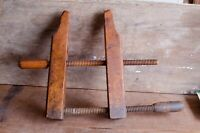 Antique Primitive Wooden Vise Clamp Wood Working Tool Wood Screw