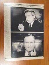 Vintage AP Wire Press Photo President George Bush, Dan Rather, CBS Evening News