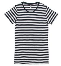 Ascolour T-Shirt Navy White Horizontal Stripe Basic Tee Crew Neck Linen Light S