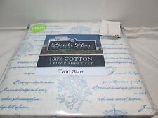 Beach Home Collection CAPTAIN Twin Sheet Set ~ Coral, Compass, Wheel Blue/Ivory