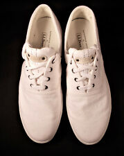 LL Bean Womens Canvas Boat Tennis Shoes White Size 11