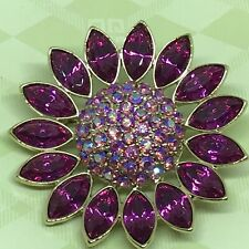 Givenchy Swarovski Pink Magenta AB Crystal Brooch Pin Gold Tone Setting Signed