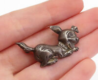 BEAU 925 Sterling Silver - Vintage Petite Oxidized Puppy Dog Brooch Pin - BP6169